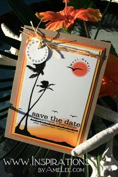 Like the 2 San Clemente palms :) Beach Save-the-Dates Wedding Invitations Photos & Pictures - WeddingWire.com