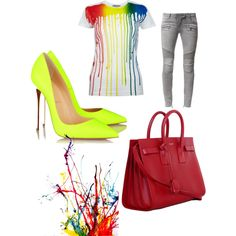 A Pop of Color by lexy13430 on Polyvore featuring polyvore, fashion, style, Simeon Farrar, Balmain, Christian Louboutin and Yves Saint Laurent