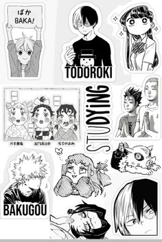 Anime Stickers, Kawaii Stickers, Cute Stickers, Anime Diys, Anime Crafts, Anime Chibi, Kawaii Anime, Boca Anime, Black And White Stickers