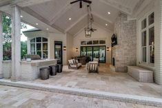 White plank vaulted patio with pavers. Neutrals are always a good idea when designing a cottage-style patio. White plank vaulted patio with pavers. Neutrals are always a good idea when designing a cottage-style patio. Outdoor Kitchen Patio, Casa Patio, Outdoor Kitchen Design, Deck Patio, Outdoor Kitchens, Back Patio Kitchen Ideas, Patio With Pavers, Dream Home Design, House Design