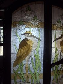 Stained Glass French Door with Stork design         Etched Glass|Stained Glass ( Fiberglass Art) | Glass Etching   Orani 2112 Bataan, Ph...