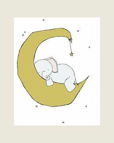Elephant Nursery Art Print, Nursery Decor, Elephant Art Print, Elephant Moon and Stars Dream, 8x10 Children Art, Kids Wall Art, Custom White
