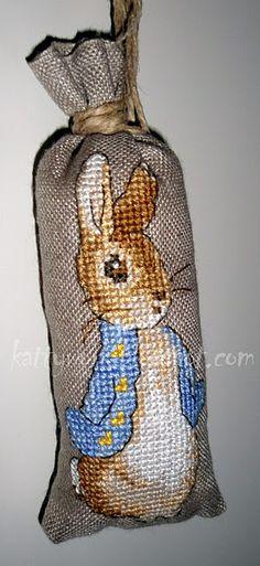 Peter Rabbit sacheted cross- stitch