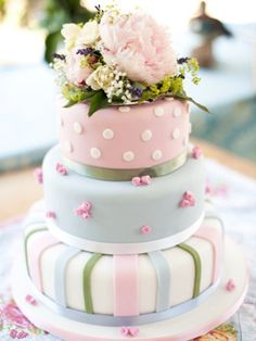 Cute pastel coloured wedding cake with different patterned layers Torta Baby Shower, Shower Cake, Cupcakes, Cupcake Cakes, Pastel Colored Wedding Cakes, Wedding Pastel, Summer Wedding, Pretty Cakes, Beautiful Cakes