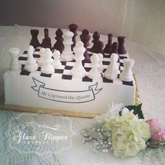 Chess themed grooms cake with 3D chocolate playing pieces #chess #groomscake #chocolate