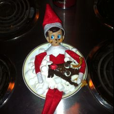 Buddy our Elf is winding down with a relaxing marshmallow bath and a brownie... He's had a rough month :)