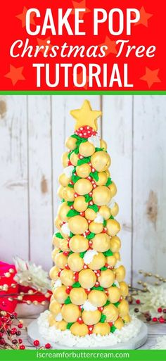 Want a show stopper on Christmas day? This Cake Pop Christmas Tree will do just that. It's pretty to look at and yummy to eat! #christmascake #christmascakepops #cakedecorating #cakepops