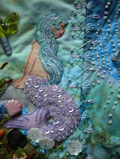 I ❤ crazy quilting . . . Here's a closeup of the mermaid on Maire's block. - DON'T call me CRAFTY . . .