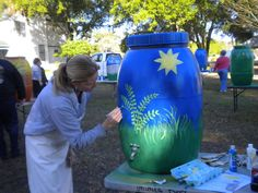 Behind The Pencil...: Rain Barrel Painting