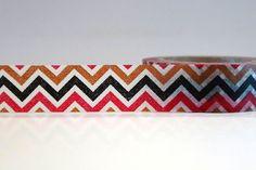 Washi Tape CHEVRON Black Brown Red Chugoku by PrettyTape on Etsy, $2.80
