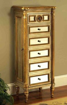Savoy Tall Jewelry Armoire W Mirror Panel Front U0026 Gold Painted Accents