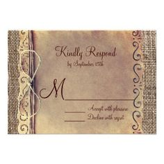 #SOLD Rustic Country Vintage Burlap Wedding RSVP Cards on #Zazzle