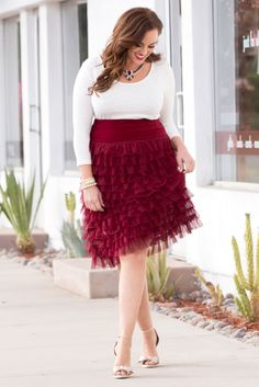 Get a little flirty this Valentine's Day in our plus size Tiered Delight Tulle Skirt.  It's feminine, trendy and has just enough romance.  Browse our entire made in the USA collection online at www.kiyonna.com.  #KiyonnaPlusYou