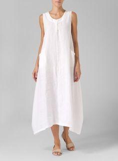 Soft White Linen Sleeveless Long Dress