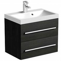 Drift Grey 2 Drawer Wall Hung Unit & Inset Basin with Waste