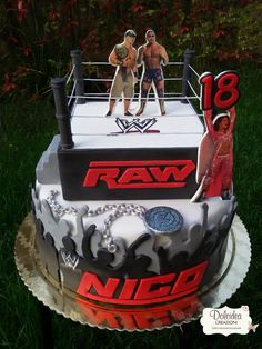 WWE wrestling cake with John Cena and Randy Orton www