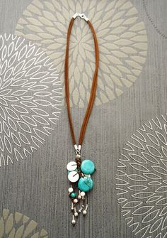 Turquoise Boho Necklace  Brown Leather Necklace  by KRAMIKE