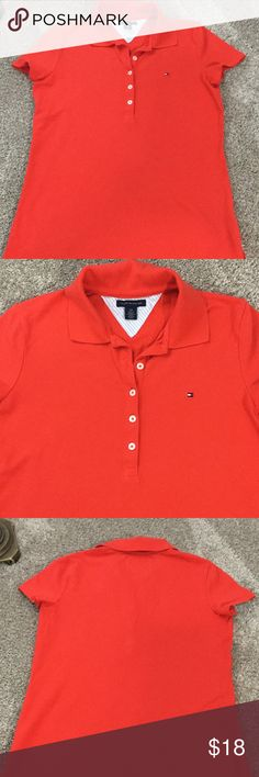 Tommy Hilfiger classic red polo shirt. Small Red classic Tommy button up shirt.  Looks so cute with shorts or jeans.  Tommy line is very in my daughter got this and only wore it once as she prefers a size medium.  Check out how cute it looks with the navy JCrew shorts I have listed. Tommy Hilfiger Tops