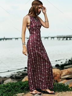 Open Back Evening Gown In Plum PURPLISH RED: Bohemian Dresses | ZAFUL