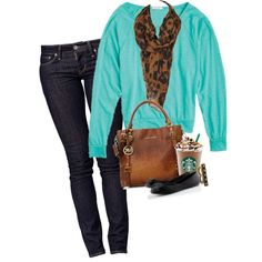 Leopard and Turquoise created by kelly-wettgen on Polyvore