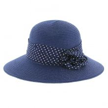 Chapeau semi-capeline avec ruban à pois bleu