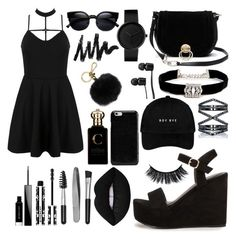 """Vantablack"" by stripy-zebra ❤ liked on Polyvore featuring Nly Shoes, WithChic, Givenchy, Sephora Collection, Lime Crime, Diane Von Furstenberg, Kenneth Jay Lane, Eva Fehren, Vans and Maison Margiela"