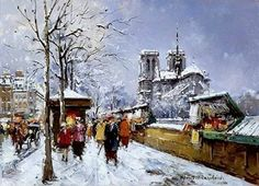 Antoine Blanchard (1910-1988), Booksellers at Notre Dame, Winter