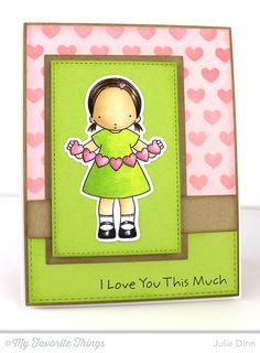 Heart Banner stamp set and Die-namics, Horizontal Stitched Strips Die-namics, Rectangle STAX Set 1 Die-namics, Stitched Rectangle STAX Die-namics, Staggered Hearts Stencil - Julie Dinn #mftstamps