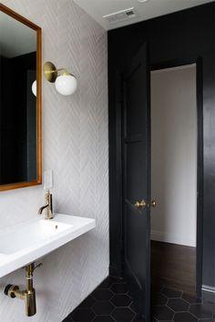 bathroom renovation // herringbone tile // brass fixtures // sarah sherman samuel: