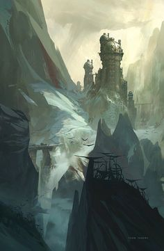 High-fantasy styled conceptual art of a mountainous landscape and medieval towers by Thom Tenery