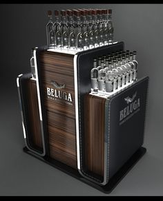 Beluga pallet display by Nikolay Grachev, via Behance Pallet Display, Pos Display, Wine Display, Store Displays, Display Design, Store Design, Display Stands, Pos Design, Signage Design
