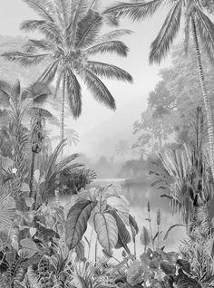Tropical Wallpaper, White Wallpaper, Wall Wallpaper, Luxury Wallpaper, Wallpaper Jungle, Wallpaper Designs, Modern Wallpaper, Poster Xxl, Forest Mural