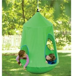 by Magic Cabin  HugglePod HangOut Indoor/Outdoor Hanging Chair - $199.00 »  The little girl in me wants to hide inside this hanging tent swing all summer long. Isn't it amazing? It's also perfect for yards where tree houses are just not an