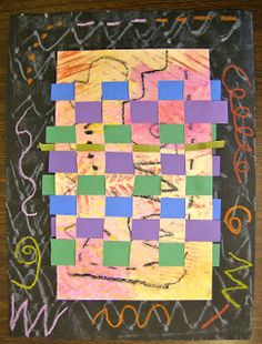 """Second Grade students studied the artist Wassily Kandinsky for inspiration to create a twist on our usual paper weavings . First, we """"took..."""