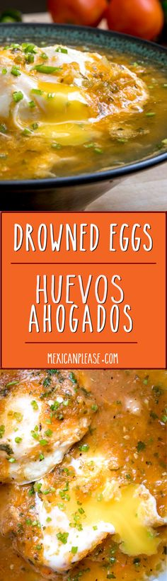 The literal translation of Huevos Ahogados is drowned eggs. In this case, eggs drowned in fresh Tomato-Jalapeno salsa. Mexican Cooking, Mexican Food Recipes, Brunch Recipes, Breakfast Recipes, Breakfast Options, Breakfast Dishes, Dessert Recipes, Desserts, Great Recipes