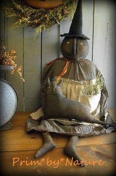 Prim*by*Nature | Handmade Primitive Folk Art Witch and cat doll. Please visit me @ primbynature.com