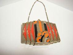 Antique Vintage Art Deco Enameled Compact w Chain Handle | eBay