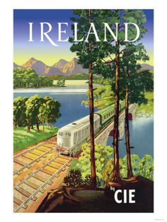 IRELAND Railway CIE Vintage Travel Poster
