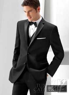 Fashionable Two Button Black Groom Tuxedos Groomsmen Men's Blazer Prom Suits Bridegroom (Jacket+Pants+Vest+Tie) K:735 #Affiliate