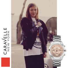 Annie wears our Silver-Tone 45L143 watch, out this spring! #Fashion #LFW #StreetStyle #Silver #Caravelle.