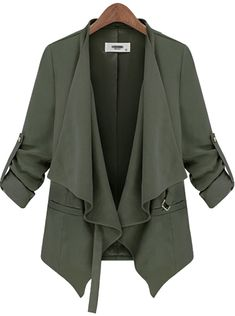 Army Green Long Sleeve Belt Casual Trench Coat - Fashion Clothing, Latest Street Fashion At Abaday.com