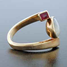 ANTONIO PINEDA Moonstone & Ruby Gold Ring | From a unique collection of vintage fashion rings at http://www.1stdibs.com/jewelry/rings/fashion-rings/