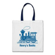 Blue train kids named id library tote bag  Click on photo to purchase. Check out all current coupon offers and save! http://www.zazzle.com/coupons?rf=238785193994622463&tc=pin