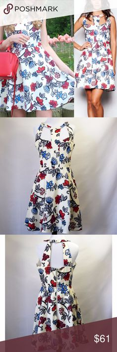 NWT Pink Martini Floral Pattern White Dress New with tag Pink Martini Mini Dress  The Bloom Where You're Planted Dress features a gorgeous floral pattern blue and red flowers on a white background. Cutout top with zipper closer at the back and button at the nape of the neck  No care label, No size tag Fabric: 100% Polyester  Lining: 97% Polyester, 3% Spandex Machine Wash Cold Size small /6 (runs large. see the details in the photo) Pink Martini Dresses Mini