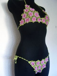 Flowers Irish Top BIKINI crocheted of little by Kleopatrisija, $40.00