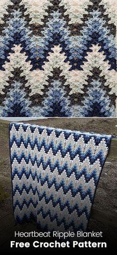 Heartbeat Ripple Blanket Free Crochet Pattern - Knitting a love Crochet Afghans, Motifs Afghans, Crochet Ripple, Manta Crochet, Afghan Crochet Patterns, Love Crochet, Knitting Patterns, Ripple Afghan, Crochet Blankets