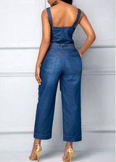 Belted Open Back Blue Pocket Jumpsuit   Rosewe.com - USD $31.29