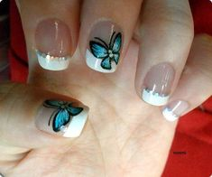 Another great design for short nails. The design starts out with a white French… - #accentnails #accent #nails