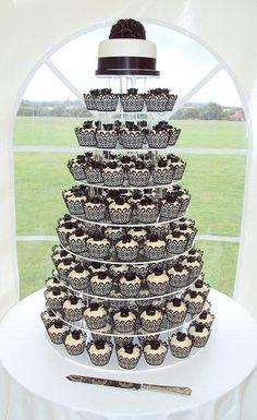 Black and White Filigree Wedding Cupcake Tower, 60 pcs Black Wedding Party Laser Cut Cupcake Wrapper Baking Wrap W003H