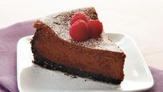 Classic cheesecake gets even sweeter with bittersweet chocolate and a garnish of fresh raspberries. Chocolate Wafer Cookies, Chocolate Wafers, Chocolate Cheesecake Recipes, Vegetarian Bake, Classic Cheesecake, Gourmet Gift Baskets, Go For It, Piece Of Cakes, Cookies And Cream